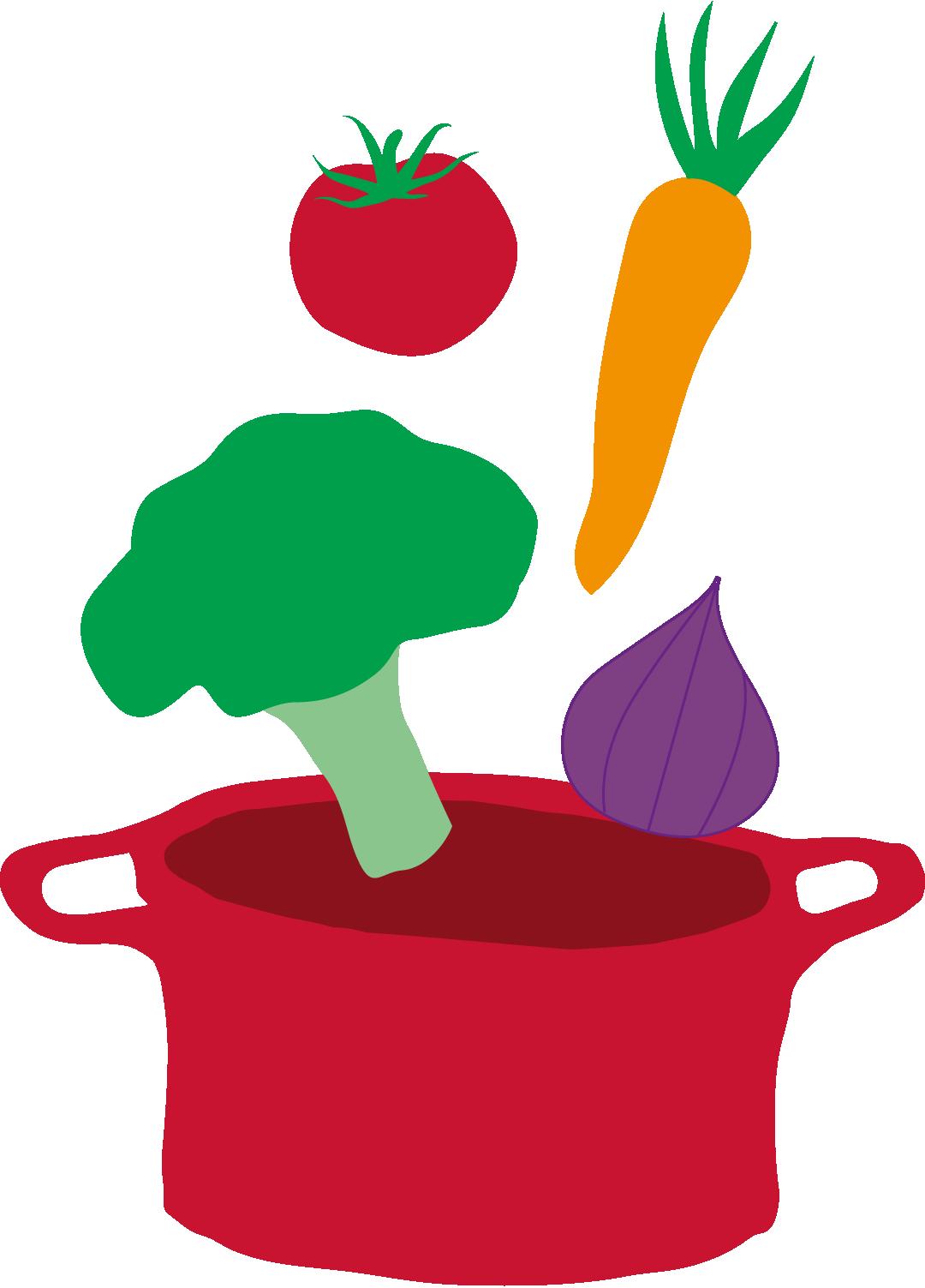 Illustrasjon: Grønsaker som faller i en gryte